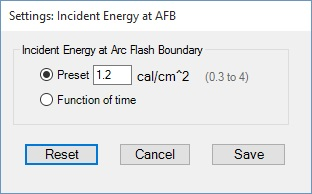 Incident Energy at Arc Flash Boundary popup
